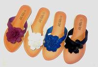 Womens Colors Flower Thong Flip Flops Sandals Shoes T-Strap Flats Slipper, Sizes