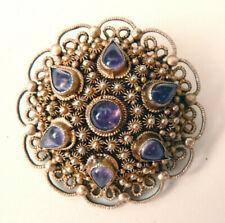 Broche en VERMEIL argent massif filigrane améthyste silver brooch bijou ancien