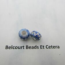 2 Sterling Silver .925 Blue Enameled 12x17mm Large Hole Beads Beautiful!