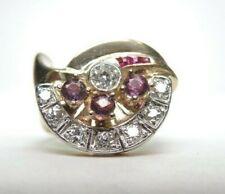 Diamond Purple Sapphire Rg Sz 4 Uk-H Antique Retro Estate 14K Rose Gold Platinum