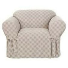 Sure Fit (1Pc.) Chair  Grain Sack Slipcover Color Tan/White
