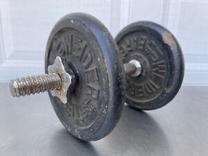 Vintage Adjustable Weider Dumbbells 23 total lbs Fully Adjustable Set Dumbells