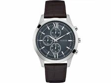 Guess Men's Brown Leather With Grey Analog Dial Watch W0876G1