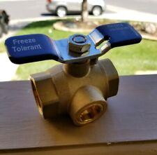 "Irrigation Sprinkler 1 "" Ball Valve w Freeze Tolerant Prevention Plug Brass PVB"