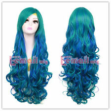 80cm long Mixed teal green and blue Harajuku curly wave sweet Cosplay wig zy121