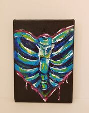Skeletal Heart-Affordable 5x7 Abstract Painting of a Ribcage Heart on Canvas