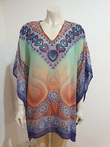 Green Purple Semi Sheer Kimono Sleeve Chiffon Kaftan One Size Blouse