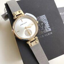 Anne Klein Watch * 3001SVTT Swarovski 2 Tone Gold & Silver Mesh Bracelet Women