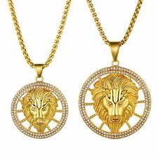 Мужская голова льва полый тег узел из нержавеющей стали цирконий кулон ожерелье цепочка пшеницы