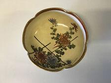 Vtg Antique Japonais Signé Koshida Satsuma Porcelaine Bol Bambou & Floral Dec