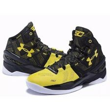 New Under Armour Curry 2 Long Shot Size 14 Black Taxi Yellow Steph Dub Nation