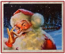 Barbara Stanwyck Vintage Custom embossed Christmas Card Santa Claus artwork