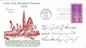 1939 FDC, #852, 3c Golden Gate Int'l Expo, Espenshade cachet #1
