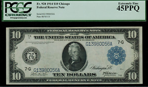 1914 $10 Federal Reserve Note Chicago FR-928 Graded PCGS 45PPQ - Extremely Fine