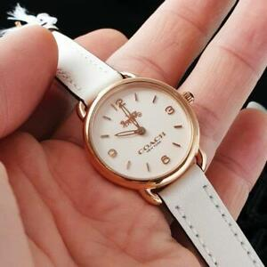 Coach 14502790 Delancey White Dial White Leather Analog Quartz Ladies Watch