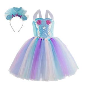 Blue Sequins Kids Flower Girls Party Tutu Costume Headband Fancy Mermaid Dress