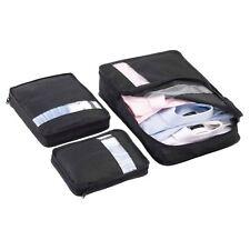 NUOVA Custodia Da Viaggio Valigia Bagagli Organizzatore Set Storage Bag ABITI-Nero 3Pc