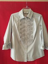 Simonton Says By George Simonton Gray Blouse Size XS QVC Crystal Buttons Embrd