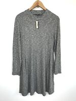 NWT Womens Madewell Large Cityblock Mockneck Gray Knit Dress F6711