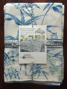 April Cornell Tablecloth Bamboo Garden Blue French Country Floral 60 x 120 NEW