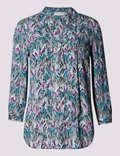 per Una Feather Print Blouse With Tie Neck in Size 18 UK