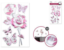 Foil Shimmer Embossed ROSES 4 wall stickers 3-D decals decor flowers buttererfly