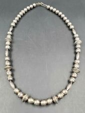 "Vintage Native American Sterling Silver Navajo Stamped Pearls Necklace 18"" 25g"
