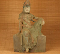big antique old wood handmade kwan-yin buddha statue figure blessing temple