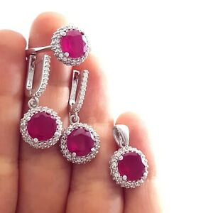 Turkish Jewelry Set 925 Silver Ladies Set White Gold Plated Luxurious 8223