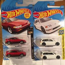 Hot Wheels Honda 88 CRX & Civic EF White 1990 Lot Of Four.