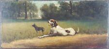 """Ancien Tableau """"Braque Français"""" Peinture Huile Antique Oil Painting"""
