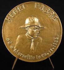 Medaglia Henri Fabre aviatore pilota aereo idrovolante ingegnere medal