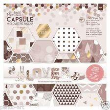 "Papermania 12x12 ""Scrapbooking Capsule Collection papel geométricas Metalizado Mocha"