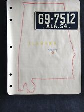 Vintage 1950's Wheaties Cereal 1954 Alabama License Plate