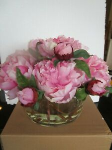 Pottery Barn faux flowers Peonies open cylinder glass vase photo shoot sample