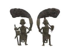 Couple de statues royale Bamoun Bamun  bronze africaines 7166