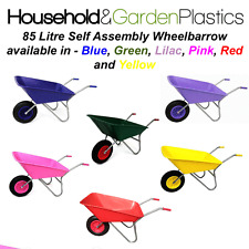 More details for 85 litre garden/equestrian plastic wheelbarrow blue/green/lilac/pink/red/yellow
