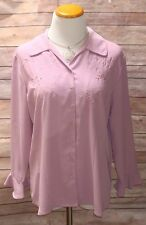 Covington Womens L Large Pink Embroidery Button Down 3/4 sleeve Shirt Top blouse