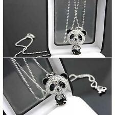 Panda Moving Sweater Necklace Pendant Crystal Chain