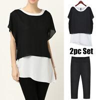 2 Piece Womens Casual Dress Pants Clubwear AU Size 12 14 16 18 20 22 24 26 #122N