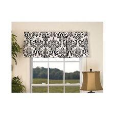 "Window Valance Black White Damask Pattern Pleat Curtain Treatment Victorian 50"""