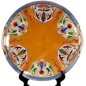 Brightly Colored Geometric Tribal Decorative Plate From Japan Ceramic w/ Handles
