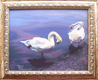 Framed Signed Original Oil, SWANS AT LAKE ANNA by Rebecca Taylor Robertson, 2005