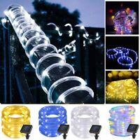 50/100 LED Solar Power Rope Tube Fairy Lights String Waterproof Outdoor Garden