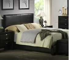 King Size Bed Upholstered Black Faux Leather Headboard Footboard Rails Frame NEW