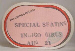 INDIGO GIRLS - VINTAGE ORIGINAL CONCERT CLOTH TOUR BACKSTAGE PASS