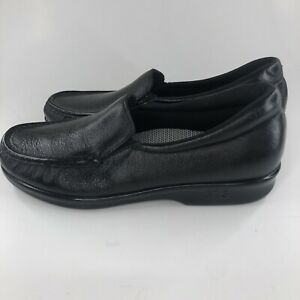SAS Twin Slip On Black Leather Tripad Comfort Walking Womens 8.5 S Slim Shoes