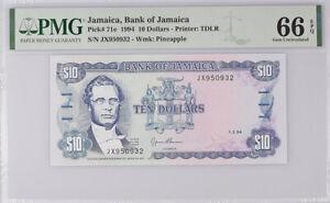 Jamaica 10 Dollars 1994 P 71 Gem UNC PMG 66 EPQ