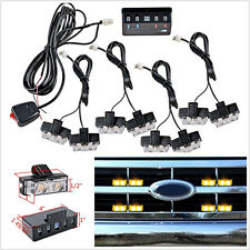 8 Pcs 12V 2LED Amber Car Front Grille Emergency Hazard Strobe Light Beacon Lamps