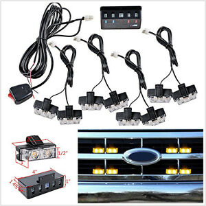 8 Pcs 12V 2LED Amber Car Front Grille Emergency Hazard Strobe Light Beacon Lamp